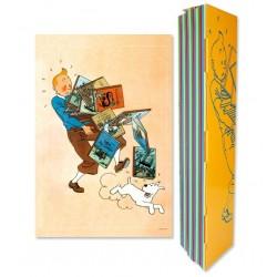 Poster -Tintin Tenant les Albums- 40 x 60 cm - Couleur