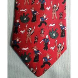 Zijden stropdas Kuifje/Tintin in Amerika rood