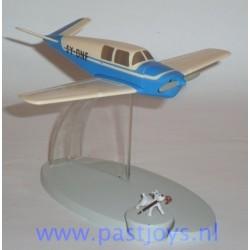 Het blauwe vliegtuig van de ontvoerders