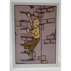 Kuifje kaart Kuifje klimt tegen muur