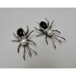 Oorbellen Bruno da Rocha spin zilver zwart