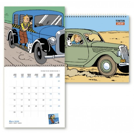 2020 Muur kalender Kuifje en de auto's