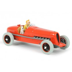 Kuifje, the red Bugatti Racing car with Snowy 1:24