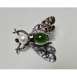 Broche Bruno da Rocha insect zilver jade/parel