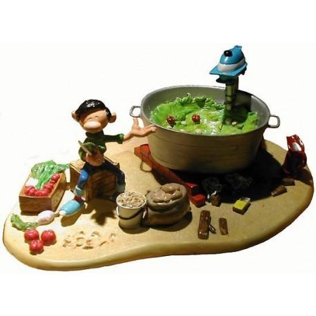 Gaston faisant la Soupe avec un Moteur de Hors Bord