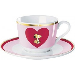 Cup and Saucer Snoopy Pink Love