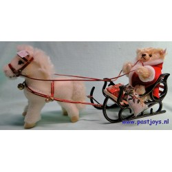 Weihnachtsmann-Teddybeer mit Ponyschlitten uit 2001